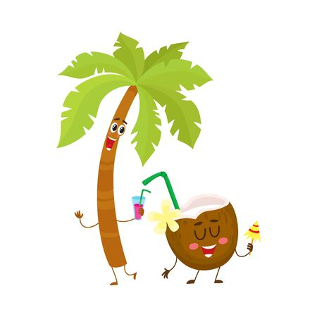 Funny palm tree and coconut characters, travelling, summer vacation symbol, cartoon vector illustration isolated on white background.