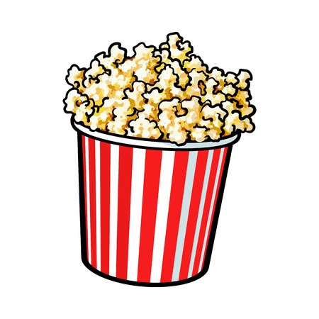 Cinema popcorn in a big red and white striped bucket, sketch style illustration isolated on white background. Popcorn bucket, traditional cinema, movie theatre attribute, food, snack