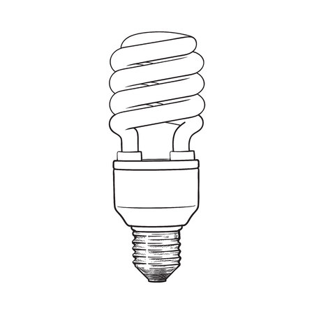 Fluorescent, energy saving, spiral light bulb, side view, sketch style illustration isolated on white background. hand drawing of spiral fluorescent light bulb, energy saving concept Illustration