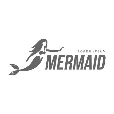long haired: Stylized black and white graphic template with long haired mermaid turned profile, illustration isolated on white background.