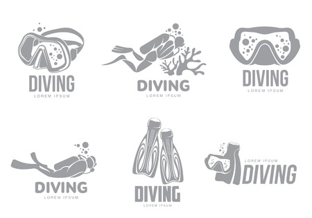 Set of black and white graphic diving templates with divers, mask, flippers, illustration isolated on white background. Graphic scuba diving, snorkeling