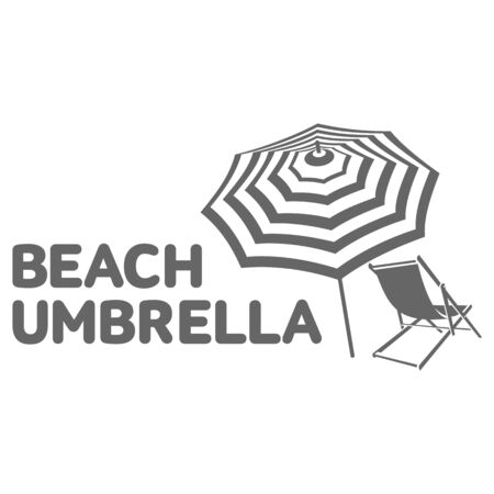 deck chair isolated: template with beach umbrella and sun bathing lounge chair, illustration isolated on white background. Black and white graphic, template with sunbathing chair and umbrella