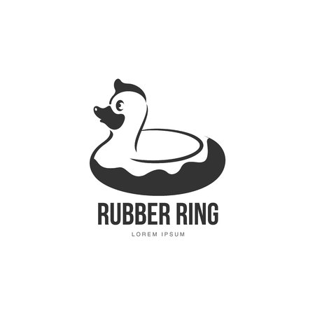 rubber ring: template with rubber duck swimming ring, illustration isolated on white background. Silhouette, side view graphic dack shaped rubber ring Illustration
