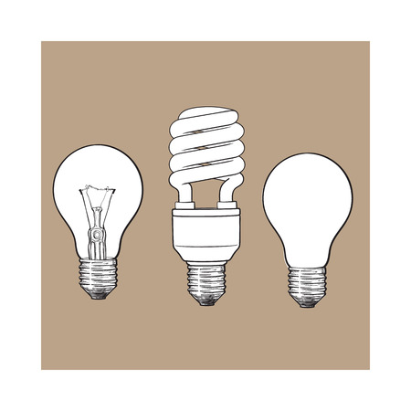 Set of transparent, opaque, glowing and energy saving spiral electric bulb, sketch style illustration isolated on brown background. hand drawing of round and spiral light bulbs