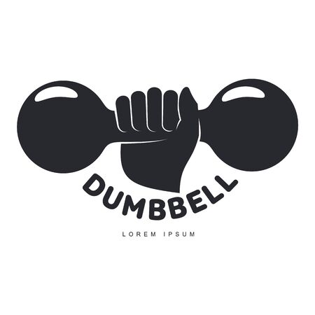 cast iron: Graphic template with hand holding iron cast dumbbell, illustration isolated on white background. Graphic black and white retro style, design with hand holding dumbbell