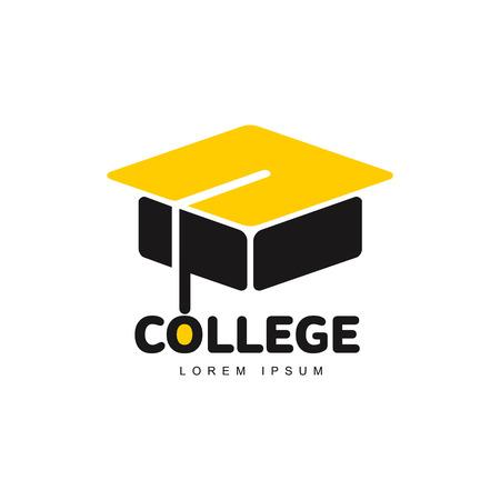 graphic three colored square academic graduation cap template