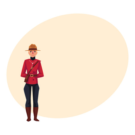 Canadian policeman in traditional uniform - scarlet tunic and breeches, cartoon illustration with place for text. Illustration