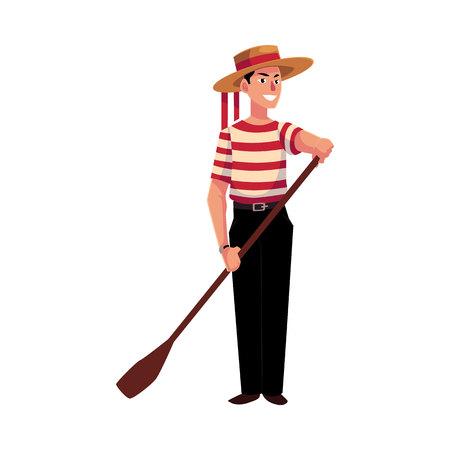 Ganzaufnahme des jungen italienischen, venetianischen Gondoliers in der typischen Kleidung, Karikaturillustration lokalisiert auf weißem Hintergrund. Italienischer Gondoliere in traditioneller Kleidung, Touristenattraktion