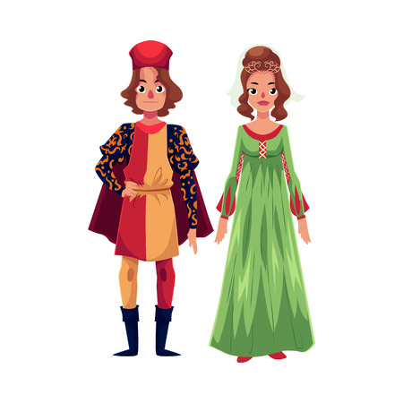 Italian Man and woman in Renaissance time costumes, clothing, cartoon illustration isolated on white background. Medieval, Renaissance Italian couple in traditional historical dresses