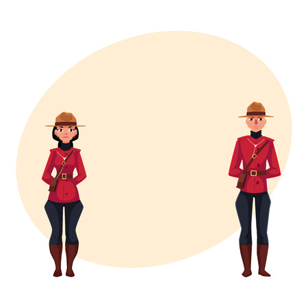 Canadian male and female policeman in traditional uniform - scarlet tunic and breeches, cartoon illustration with place for text. Couple of young Canadian mounted policemen