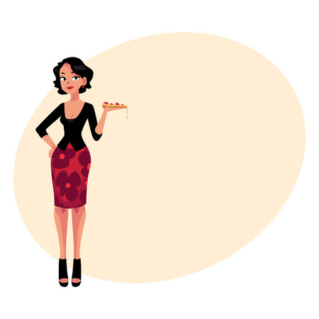 Full length portrait of Italian woman in fashionable clothes holding pizza, cartoon illustration with place for text. Beautiful woman symbolizing Italian fashion and cuisine Illustration