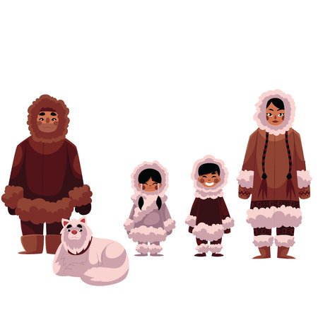 esquimales: Eskimo, Inuit family of father, mother and kids with white sledge dog, cartoon illustration isolated on white background. Set of Eskimos, Inuit people in warm fur coats, northern life