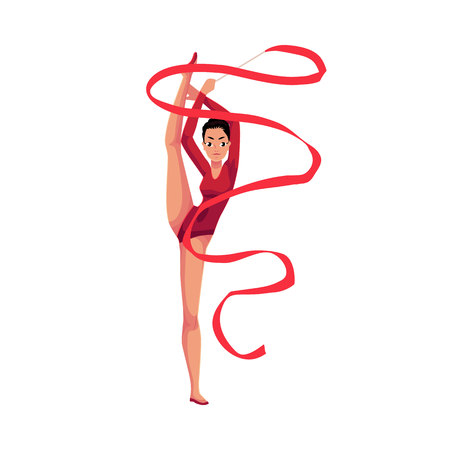 Beautiful girl in leotard standing in vertical leg split, rhythmic gymnastics with ribbon, cartoon illustration isolated on white background. Rhythmic gymnast exercising with ribbon