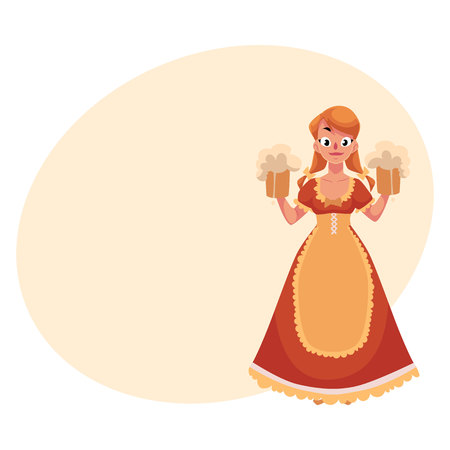 Woman in traditional German, Bavarian, Austrian country dress holding beer mugs, Oktoberfest, cartoon illustration with place for text. German girl in traditional Oktoberfest costume