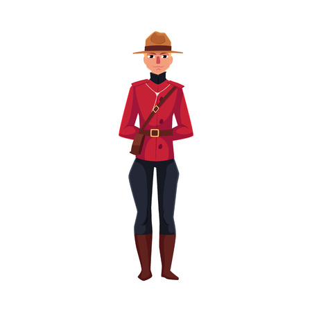 Canadian policeman in traditional uniform - scarlet tunic and breeches, cartoon illustration isolated on white background. Full length portrait of young Canadian mounted policemen