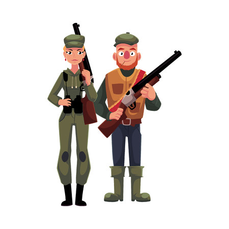 Two hunters, male and female, standing and holding rifles, cartoon illustration isolated on white background. Full length portrait of slim woman hunter in khaki clothing and man in hunting vest