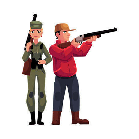 hunters: Two hunters, male and female, standing and holding rifles, cartoon illustration isolated on white background. Full length portrait of slim woman hunter in khaki clothing and man in hunting vest
