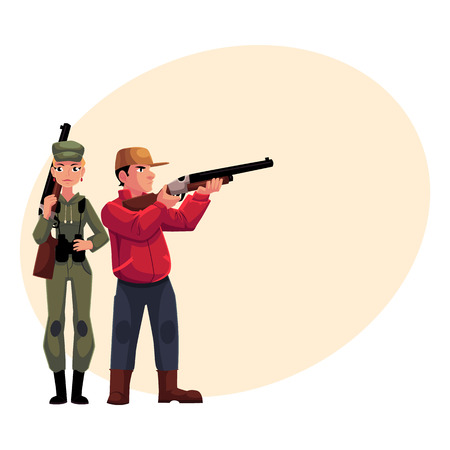 khaki: Two hunters, male and female, standing and holding rifles, cartoon illustration with place for text. Full length portrait of slim woman hunter in khaki clothing and man in hunting vest Illustration
