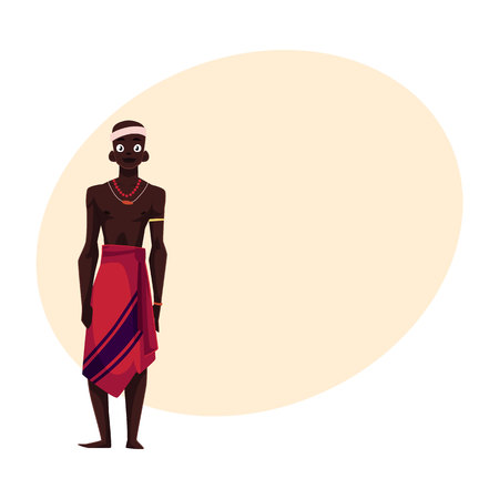 Native aborigine man from African tribe in loincloth and bead necklace, cartoon illustration with place for text. Illustration