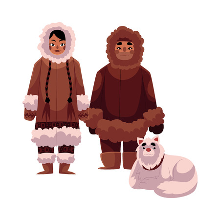 Eskimo, Inuit man and woman in warm winter clothes with white fluffy sledge dog, cartoon illustration isolated on white background. Full length portrait of Eskimo, Inuit couple and sledge dog Illustration