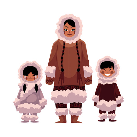 Eskimo, Inuit woman with two kids, boy and girl, in warm winter clothes, cartoon illustration isolated on white background. Portrait of smiling Eskimo, Inuit family of mother and two kids
