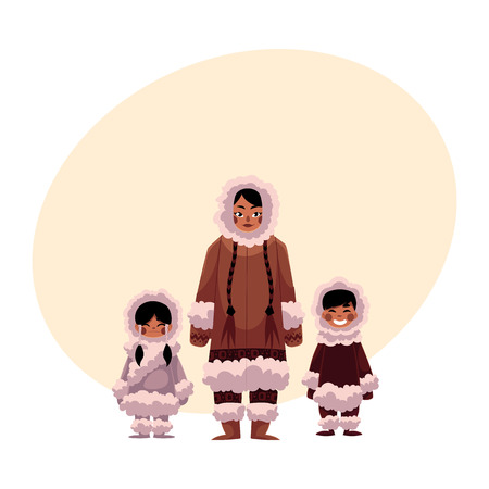Eskimo, Inuit woman with two kids, boy and girl, in warm winter clothes, cartoon illustration with place for text. Portrait of smiling Eskimo, Inuit family of mother and two kids Illustration