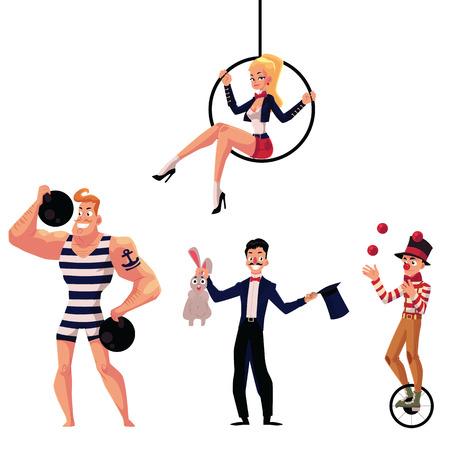 Set Zirkuskünstler - starker Mann, Illusionist, Luftgymnast und Jongleur, Karikaturillustration lokalisiert auf weißem Hintergrund. Strongman, Turner, Illusionist und Jongleur Zirkus Künstler Standard-Bild - 71719200