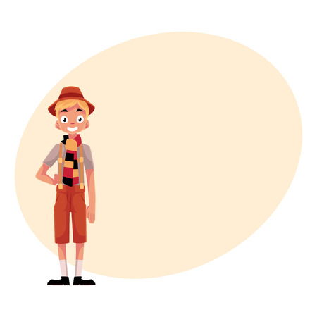 lederhosen: Young man wearing traditional German, Bavarian Oktoberfest costume, cartoon illustration isolated with place for text.
