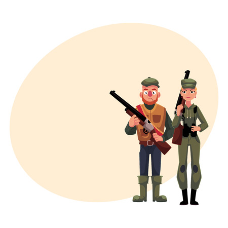 Two hunters, male and female, standing and holding rifles, cartoon illustration with place for text. Full length portrait of slim woman hunter in khaki clothing and man in hunting vest Illustration