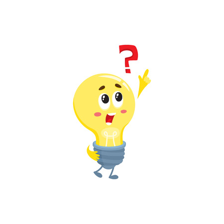 Cute light bulb character with funny face and question mark, cartoon illustration isolated on white background. Funny light bulb character, insight, problem solving, solution finding concept