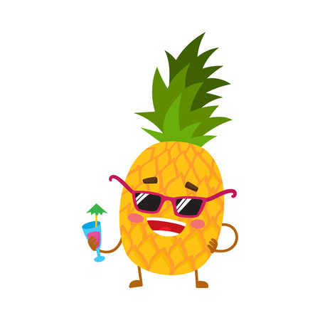 Cute and funny pineapple character in sunglasses holding a cocktail, cartoon illustration isolated on white background. Funky pineapple character, mascot in sunglasses and drinking a cocktail Illustration