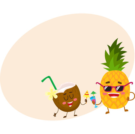 Cute and funny pineapple and coconut characters drinking cocktails, having fun, cartoon illustration with place for text. Funky pineapple and coconut characters enjoying vacation