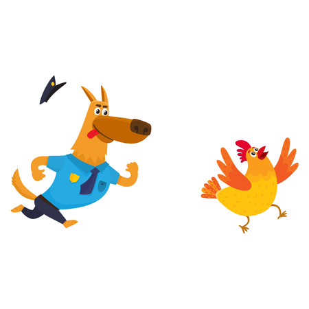 Funny shepherd dog character in blue police uniform chasing a chicken, cartoon illustration isolated on white background. Funny police dog character running after cackling chicken Illustration