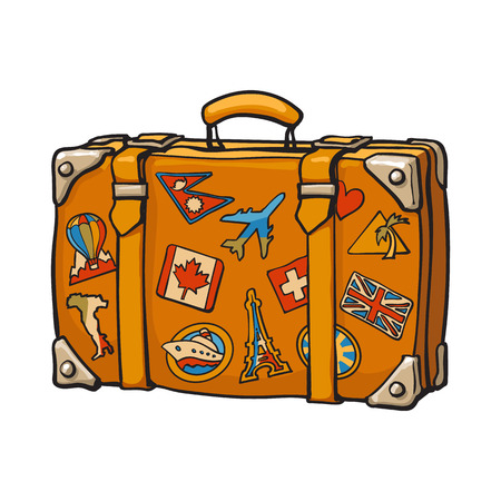 Hand drawn retro style travel suitcase with colorful labels, sketch illustration isolated on white background. Realistic hand drawing of old fashioned suitcase with tourist labels Vektorové ilustrace