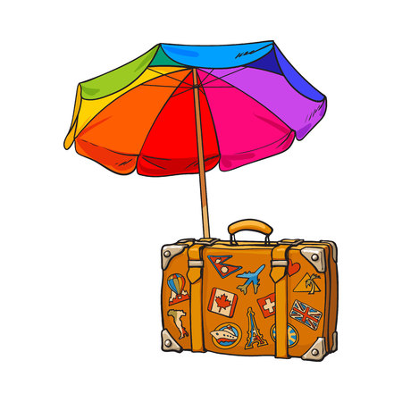 sunshade: Rainbow colored, open beach umbrella and travel suitcase with luggage stickers, sketch illustration isolated on white background. Hand drawn beach umbrella and suitcase with travel stickers Illustration