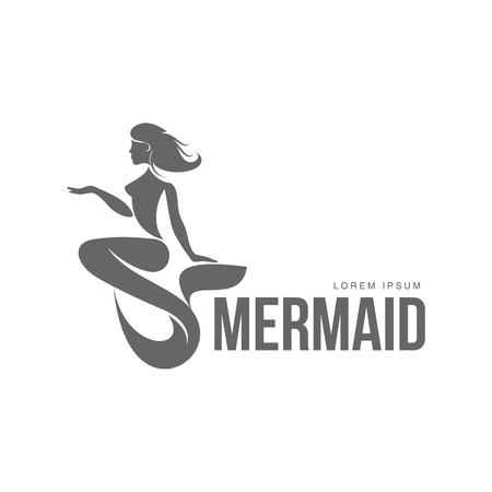 Stylized black and white graphic template with long haired mermaid turned profile, illustration isolated on white background. Black white stylized swimming mermaid