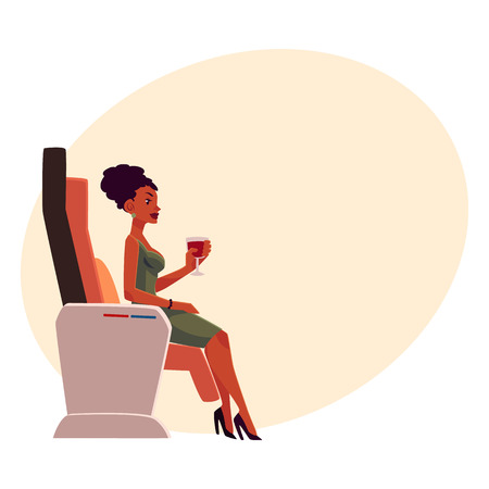 Black, African American lady, woman holding wineglass, seating in airplane business class and drinking wine, cartoon on background with place for text.