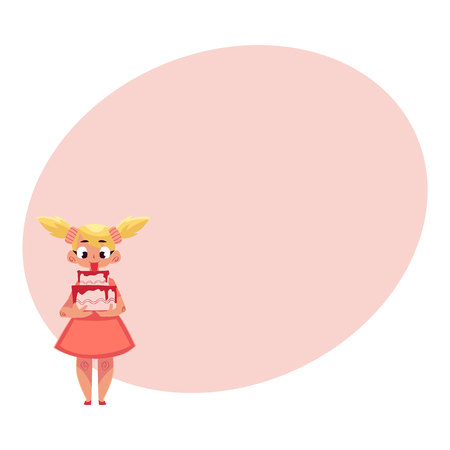 ponytails: Little girl with two ponytails in pink dress holding strawberry birthday cake in two hands, cartoon illustration with place for text.