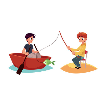 Two boys having fun in summer, one fishing, another swimming in boat, kayak, cartoon illustration isolated on white background.