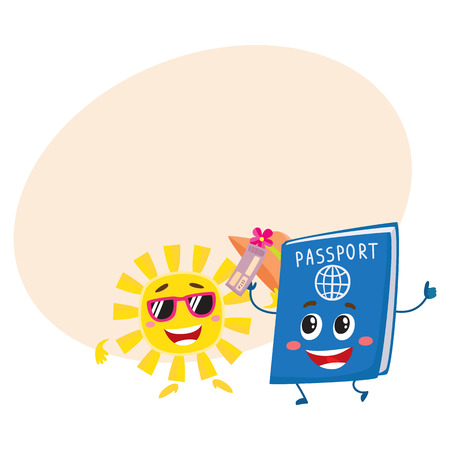 Summer sun and traveler passport characters, holiday, vacation concept, cartoon illustration with place for text. Smiling sun and happy passport funny characters, mascots