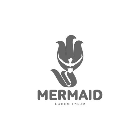 black haired: Stylized black and white graphic template with long haired mermaid turned profile, illustration isolated on white background. Black white stylized swimming mermaid