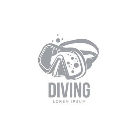Black and white graphic diving template with diver mask, illustration isolated on white background. Scuba diving, snorkeling, design with stylized mask, front view