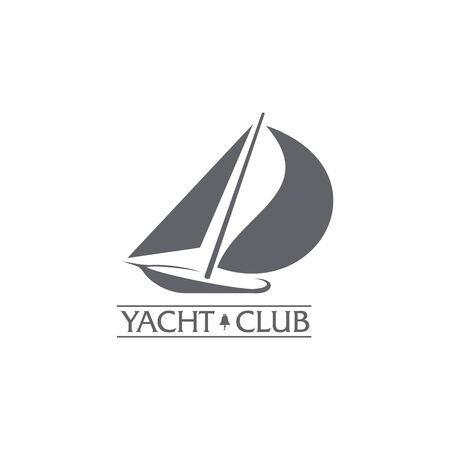 Black and white graphic yacht club, sailing sport template with wind filling the sails, illustration isolated on white background.