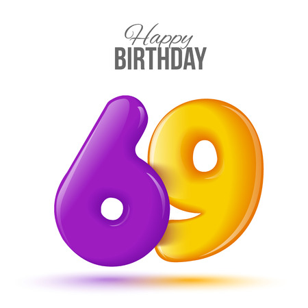 sixty nine birthday greeting card template with 3d shiny number sixty nine balloon on white background. Birthday party greeting, invitation card, banner with number 69 shaped balloon Stock Photo