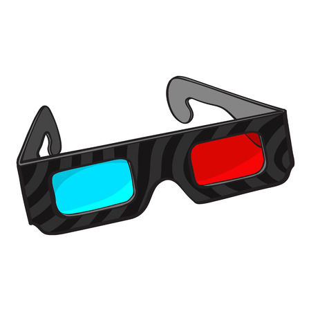 Typical blue and red stereoscopic, 3d glasses in black plastic frame, sketch style illustration isolated on white background. Hand drawn 3d stereoscopic glasses, cinema object Illustration