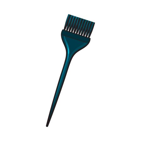 Color mixing plastic hairdresser brush, hairbrush, sketch style illustration isolated on white background. Hairbrush, coloring brush, hairdresser tool for hair bleaching and coloring