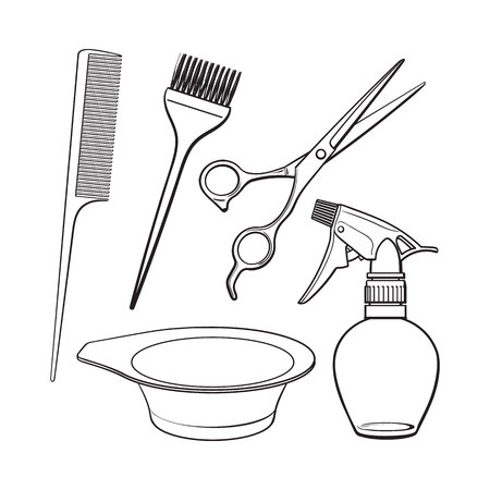 coiffeur: Set of hairdresser objects - scissors, brush, comb, coloring bowl and spray bottle, sketch style illustration isolated on white background. Hairdresser, hair stylist tools, objects, attributes