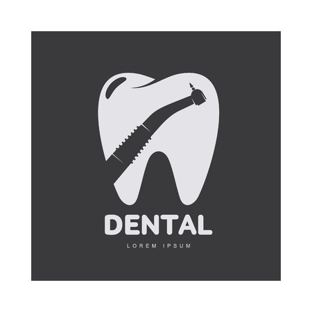 Graphic, black and white tooth, dental care template with drill silhouette over tooth shape, illustration isolated on black background. Tooth, dental care design