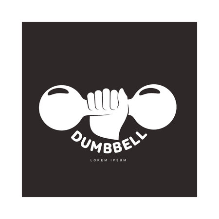 barbel: Graphic template with hand holding iron cast dumbbell, illustration isolated on black background. Graphic black and white retro style , design with hand holding dumbbell Illustration