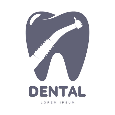 orthodontist: Graphic, black and white tooth, dental care  template with drill silhouette over tooth shape, illustration isolated on white background. Tooth, dental care , design